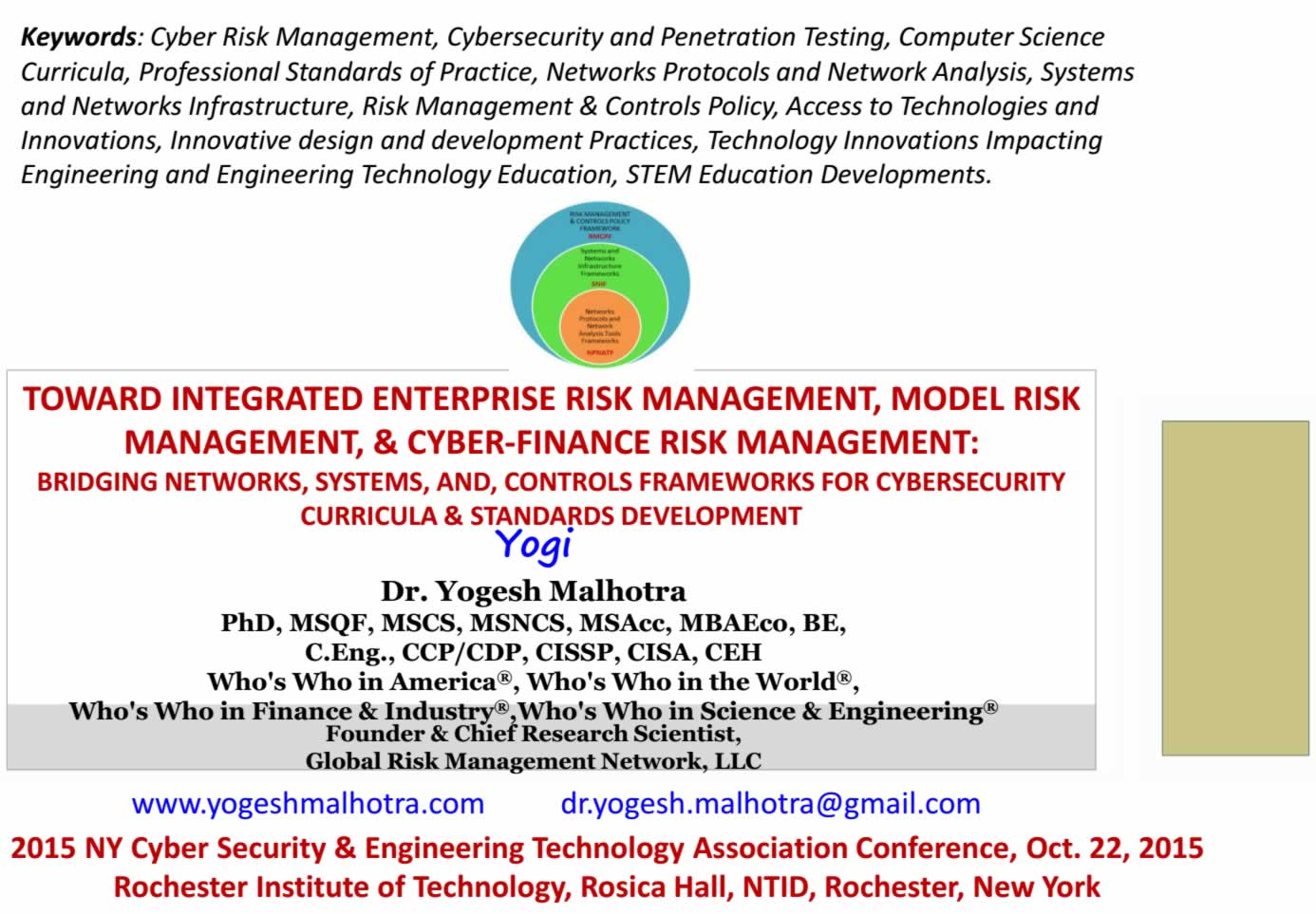 2015 New York Cyber Security and Engineering Technology Association Conference