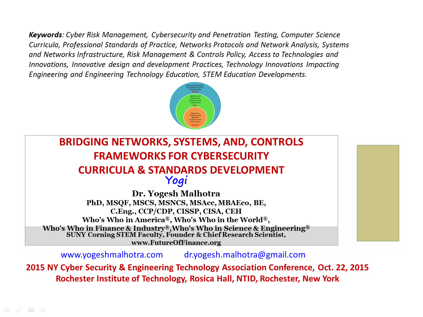 New York Cyber Security and Engineering Technology Association (NYSETA) Conference